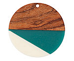 Walnut Wood & Succulent Resin Coin Focal 38mm