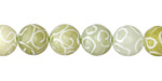 Green Soochow Jade Carved Swirls Round 10mm