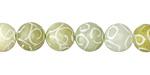 Green Soochow Jade Carved Swirls Round 10mm