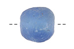 African Recycled Glass Moody Blue Tumbled Rondelle 18-24x20-24mm