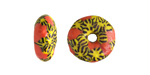 African Recycled Glass & Seed Bead Orange w/ Yellow & Black Donut 5-7x13-14mm