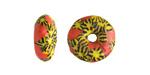 African Recycled Glass & Seed Bead Orange w/ Yellow & Black Mini Donut 5-7x13-14mm