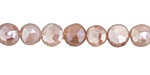 Peach Moonstone w/ Mystic Luster Faceted Coin 8-9mm