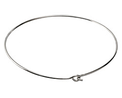 Silver (plated) Simple Neck Collar w/ Flat Hook & Eye Closure 12 gauge