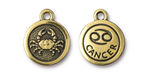 TierraCast Antique Gold (plated) Round Cancer Charm 15x18mm