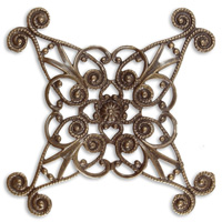 Vintaj Natural Brass Diamond Swirls Wrapping Filigree 60mm