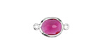 Cranberry Faceted Crystal in Silver (plated) Textured Bezel Oval Focal Link 18x10mm