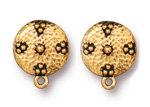TierraCast Antique Gold (plated) Beaded Hammertone Ear Clip 16x19mm