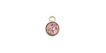 Metallic Bronze Crystal Druzy Coin Charm in Gold Finish Bezel 7x9mm