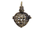 Antique Brass (plated) Filigree Heart Diffuser Locket 25x35mm