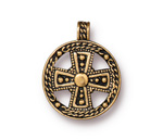 TierraCast Antique Gold (plated) Beaded Cross Pendant 24x30mm