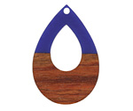 Walnut Wood & Indigo Resin Open Teardrop Focal 25x38mm