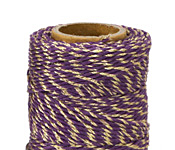 Purple & Metallic Gold Hemp Twine 20 lb, 205 ft
