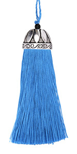 Zola Elements Ocean Blue Thread Tassel w/ Antique Silver (plated) Lotus Tassel Cap 20x75mm