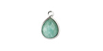 Brazil Amazonite Faceted Teardrop Pendant in Silver Finish Bezel 10x14mm