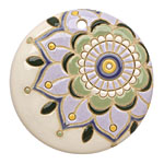 Golem Studio Retro Dahlia Carved Ceramic Circle Pendant 45mm
