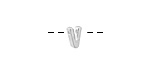 "Sterling Silver Letter ""V"" Charm Slide 6mm"