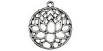 Zola Elements Antique Silver (plated) Domed Openwork Lotus Pendant 22x24mm