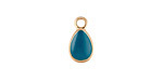Zola Elements Peacock Enamel Matte Gold Finish Teardrop Charm 8x14mm