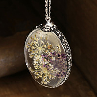 Glass Orb Oval w/ Purple & Ivory Lacy Flowers and Pave Crystals 25x50mm