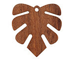 Walnut Wood Small Monstera Leaf Focal 28x30mm