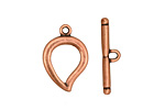 Antique Copper (plated) Simple Teardrop Toggle Clasp 22x15mm, 24mm bar