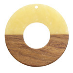 Walnut Wood & Butter Resin Donut Focal 45mm