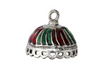 Zola Elements Antique Silver (plated) Enameled Carousel Tassel Cap w/loops 24x21mm