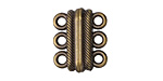 Antique Brass (plated) 3 Strand Magnetic Clasp