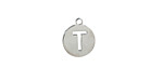 """Stainless Steel Initial Coin Charm """"T"""" 10x12mm"""