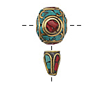 Tibetan Brass Guru Bead w/ Turquoise & Coral Mosaic 15x30mm