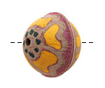 Hand Painted Buttercup Leather Round Bead 27-29mm