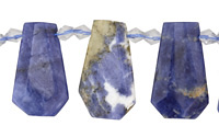 Sodalite Graduated Faceted Flat Teardrop 15-22x23-29mm
