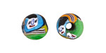African Recycled Glass Multi-Color w/ Faces Round 12-14mm