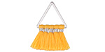 Orange Creamsicle Small Fanned Tassel on Triangle Ring w/ Silver Finish 15x23mm