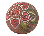Golem Studio Red Paisley Flower Carved Ceramic Circle Pendant 39mm