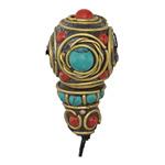 Tibetan Brass Large Roped Guru Bead w/ Turquoise & Coral Mosaic 18-20x32-36mm