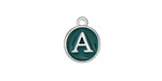 "Peacock Green Enamel Silver Finish Initial Coin Charm ""A"" 12x14mm"