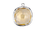 Sunshine Faceted Crystal in Silver (plated) Textured Bezel Square Pendant 23x26mm