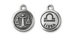 TierraCast Antique Silver (plated) Round Libra Charm 15x18mm