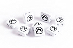 White Enamel 2-Hole Tile Square Bead w/ Paw Print 8mm