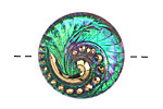 Czech Glass Pink & Green w/ Gold Lunar Spiral Button 27mm
