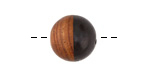 Walnut Wood & Jet Resin Bead 15mm