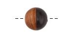 Walnut Wood & Jet Resin Bead 15mm