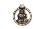 TierraCast Antique Brass (plated) Openwork Buddha Pendant 21x24mm