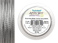 Twisted Artistic Wire Stainless Steel 22 gauge, 8 yards