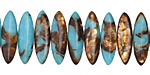 Synthetic Turquoise & Bronzite 2-Hole Spear 6x21mm