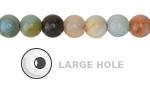 """Black Gold Amazonite (Large Hole) Round 8mm - 14"""" Strand"""
