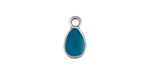 Zola Elements Peacock Enamel Antique Silver (plated) Teardrop Charm 8x14mm