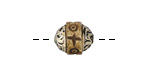 Tibetan Small Carved Bone & White Brass Bead 12x11mm